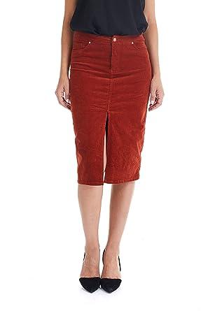 Suko Jeans Falda de lápiz, de Pana para Mujer, con Abertura ...