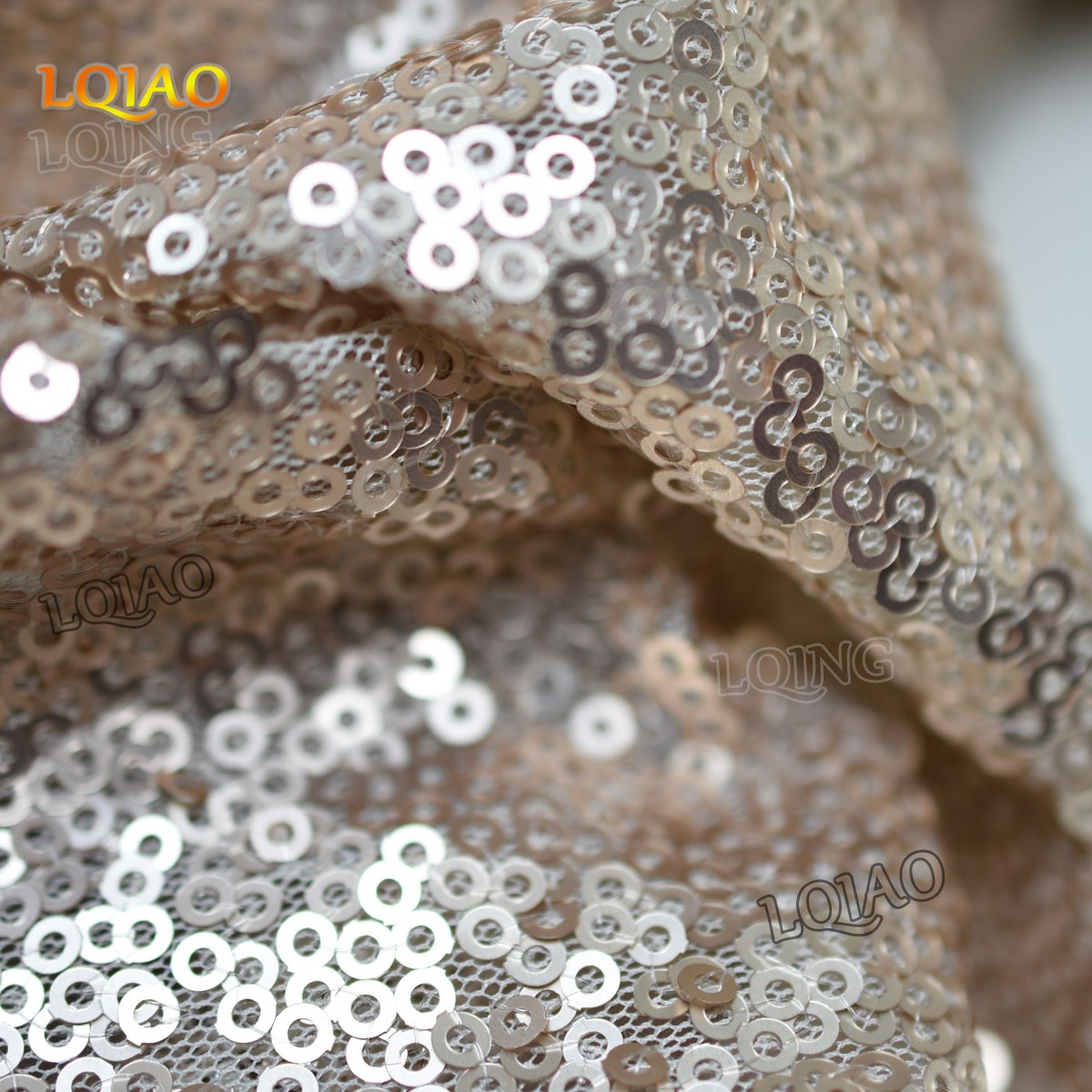 LQIAO 10PCS 90x132-Inch Rectangle Sequin Tablecloth-Champagne Blush for Lavender Wedding Party Decoration