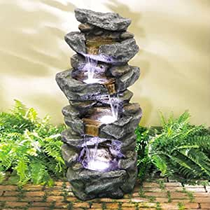 "SunJet 4-Tier Outdoor Water Fountain with LED Lights - 40in Rock Water Fountain for Home Garden, Yard, Patio, Deck Decor - Soothing Tranquility Floor-Standing Fountain (40"", Grey_1)"