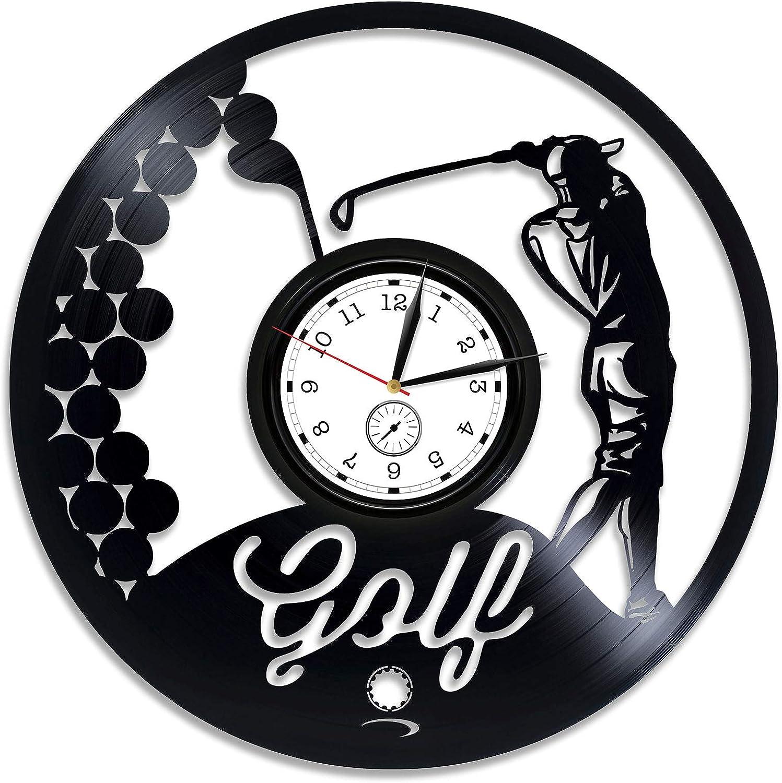 Kovides Golf Vinyl Clock Golf Wall Clock Large Golf Vinyl Wall Clock Sport Gift for Him Golf Vinyl Record Wall Clock Gift for Dad Golf Clock Golf Game Golf Club 12 inch Clock New Year Gift