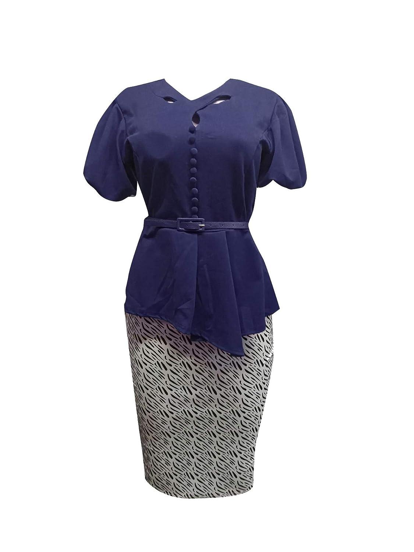Coolred-Women Belted Design 2pcs Office Plus Size Formal Skirt Suit Set