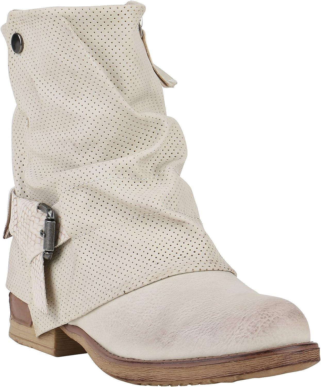 stiefelparadies Damen Stiefeletten Biker Boots Flandell