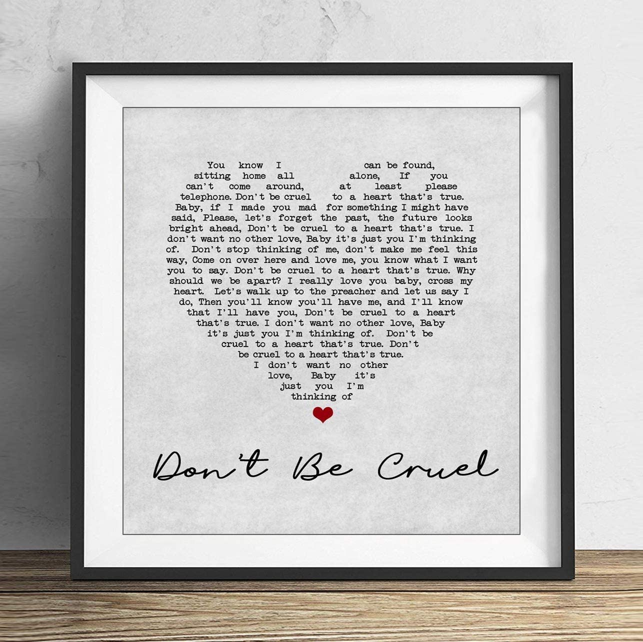 Elvis Presley Dont Be Cruel Grey Heart Song Lyric Print 10x10 Inch With Frame Amazon Ca Home Kitchen