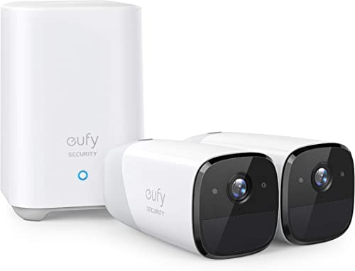 eufy Security eufyCam 2 Wireless Home Security Camera System, 365-Day Battery Life, HomeKit Compatibility, HD 1080p, IP67 Weatherproof, Night Vision, 2-Cam Kit, No Monthly Fee