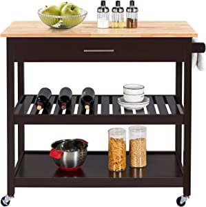 Yaheetech Kitchen Island on Wheels, 3 Tier Rolling Microwave Cart Serving Cart with Storage Drawer and Shelves 40'' W Wood Top, Espresso