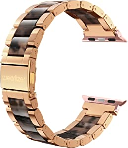 Wearlizer Compatible with Apple Watch Bands 42mm 44mm Wristband Womens Mens for iWatch SE Strap Stainless Steel Fashion Sleek Resin Bracelet Metal Buckle Series 6 5 4 3 2 1-Dark Rose Gold+Tortoise