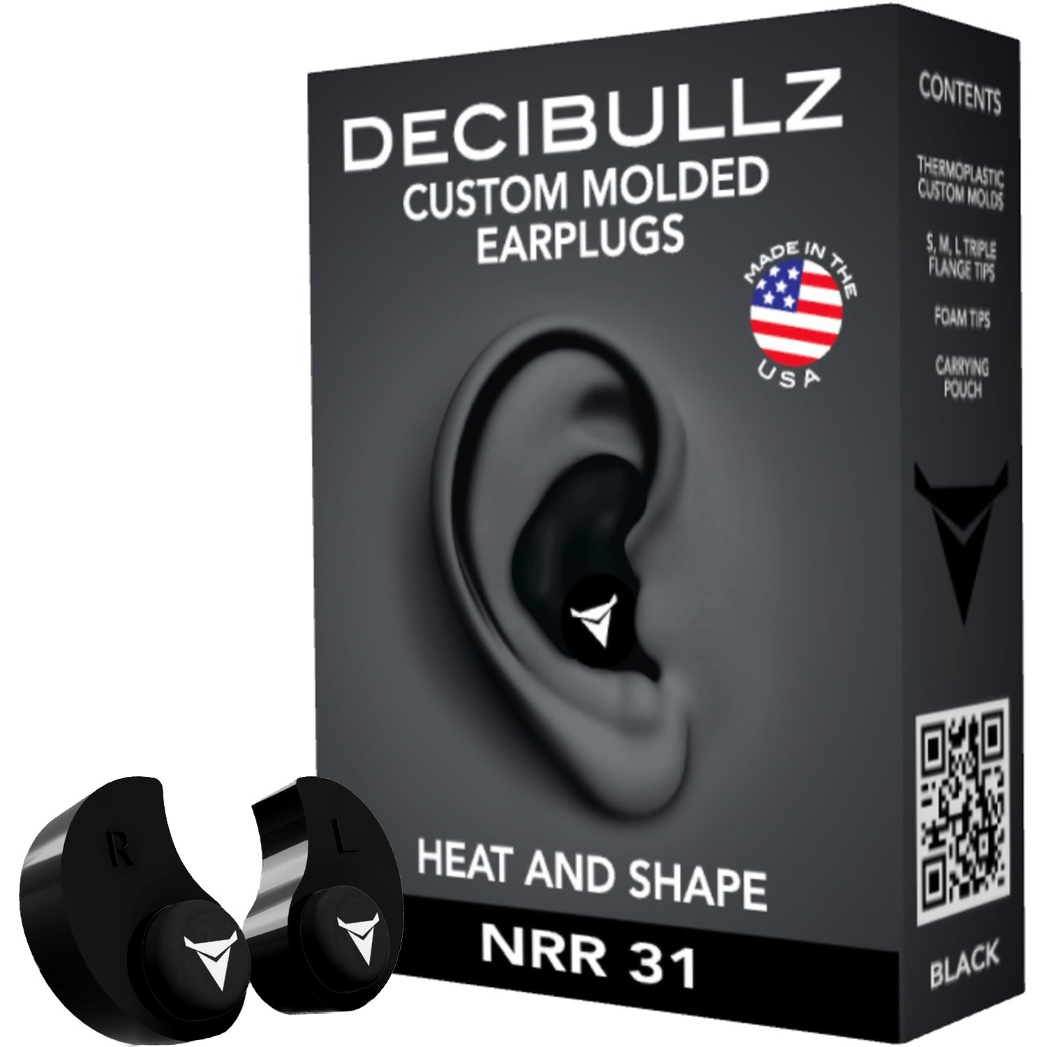 Decibullz - Custom Molded Earplugs, 31dB Highest NRR, Comfortable Hearing Protection for Shooting, Travel, Swimming, Work and Concerts (Black)