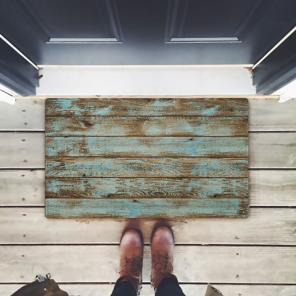 ZBLX Rustic Old Barn Wood Door Mats Indoor Bathroom Kitchen Decor Rug Mat Welcome Doormat - 23.6''(L) x 15.7''(W) …60cmx40cm,