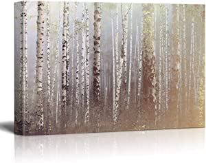 wall26 Canvas Wall Art - Birch Trees Forest on a Foggy Day - Giclee Print Gallery Wrap Modern Home Art Ready to Hang - 24x36 inches