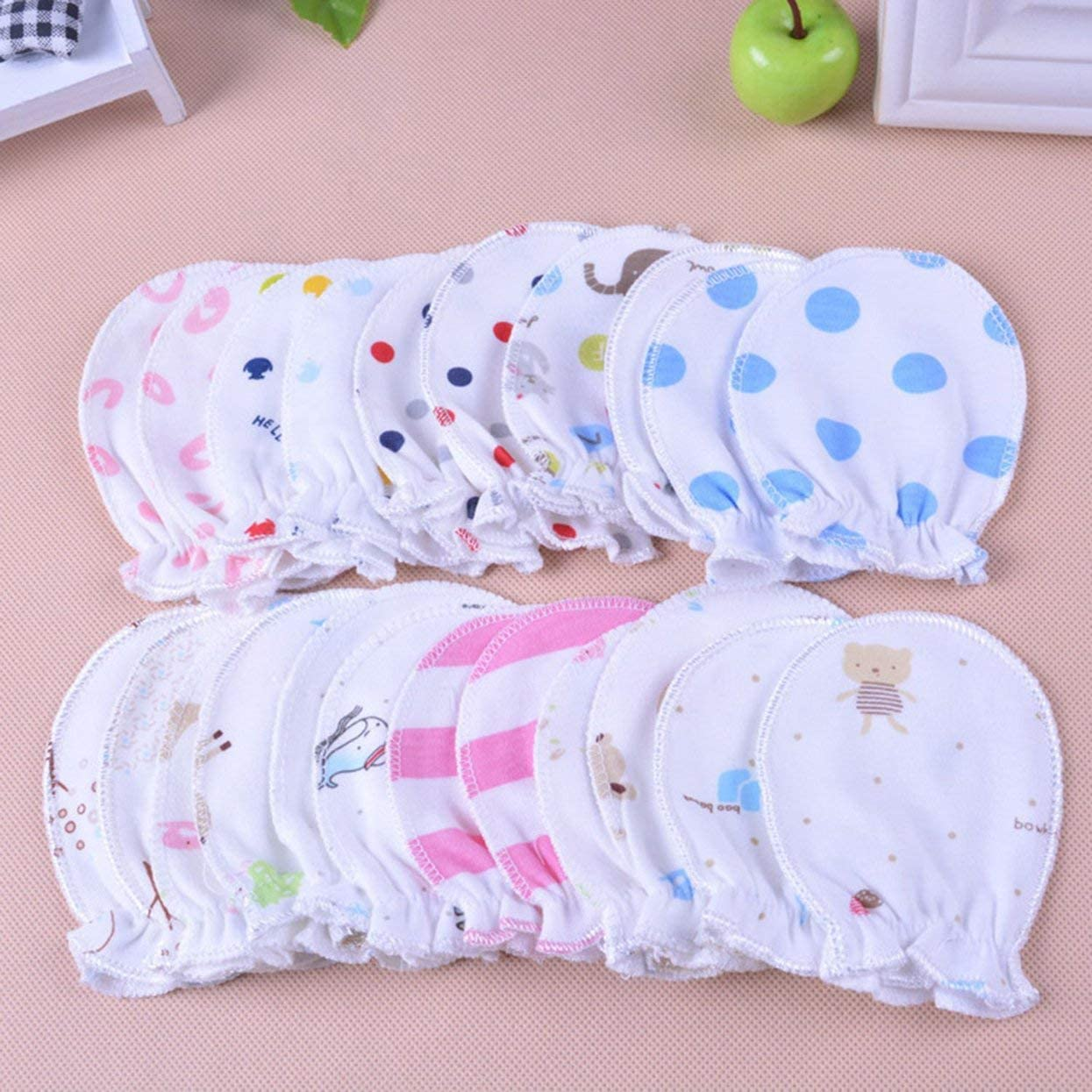 ShenyKan 1 Pair Baby Girl Boy Anti-scratch Gloves Cute Soft Unisex Newborn Infant Handguard No Scratch Mittens Gloves