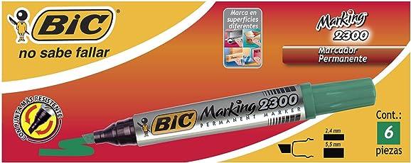 BIC 867912 Marking 2300 Marcador Permanente, Cajilla de 6 Piezas, color Verde