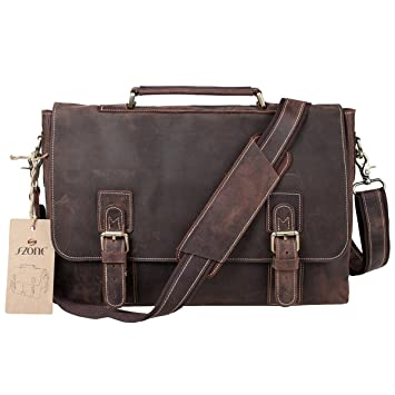 Amazon.com: BIG SALE-S-ZONE Men's Crazy-Horse Leather Business ...