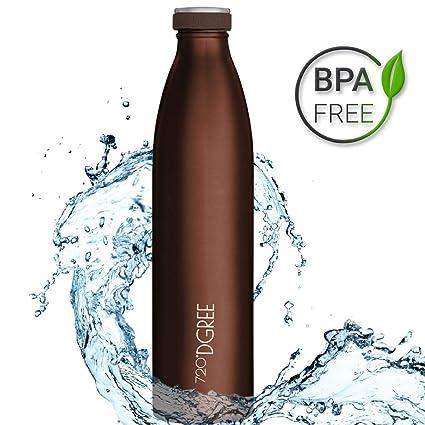 720°DGREE Botella Agua Acero Inoxidable milkyBottle – 1 Litro, 1l, 1000ml, Rojo | Novedoso Antigoteo con Termo de vacío térmico termica Beber en el ...
