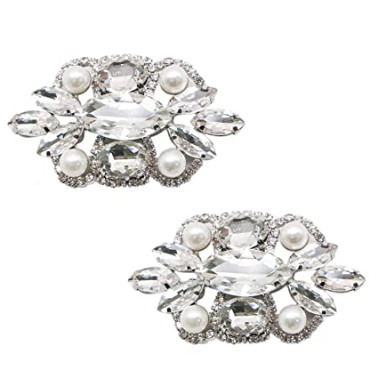 Image Unavailable. Image not available for. Color  JETEHO 2Pcs Rhinestones  Crystal Pearl Shoe ... 45b8a91985