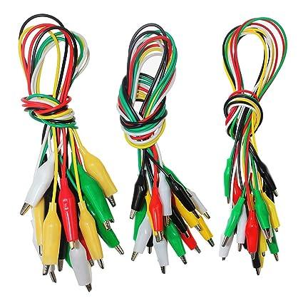 KeeYees 30 piezas Tres tallas cables de prueba con pinzas de cocodrilo Alambres de puente 50cm