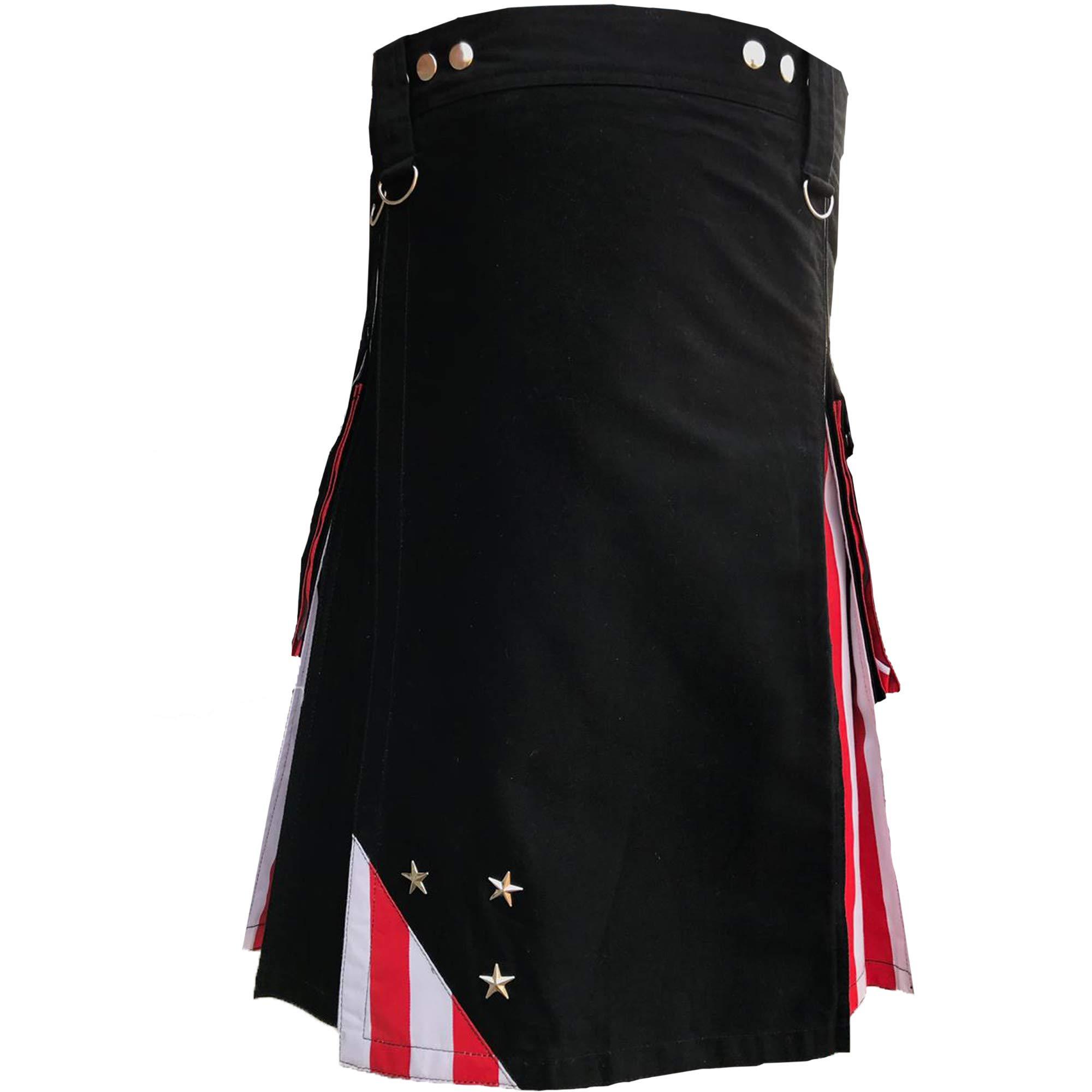 AAR Men's Kilts US American Flag Hybrid Utility Kilt Modern Design Size 34''