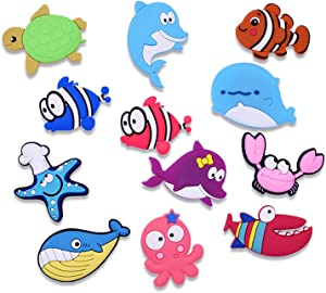 12 cute cartoon sea animal refrigerator stickers, home kitchen decoration, children soft magnetic stickers educational props gifts