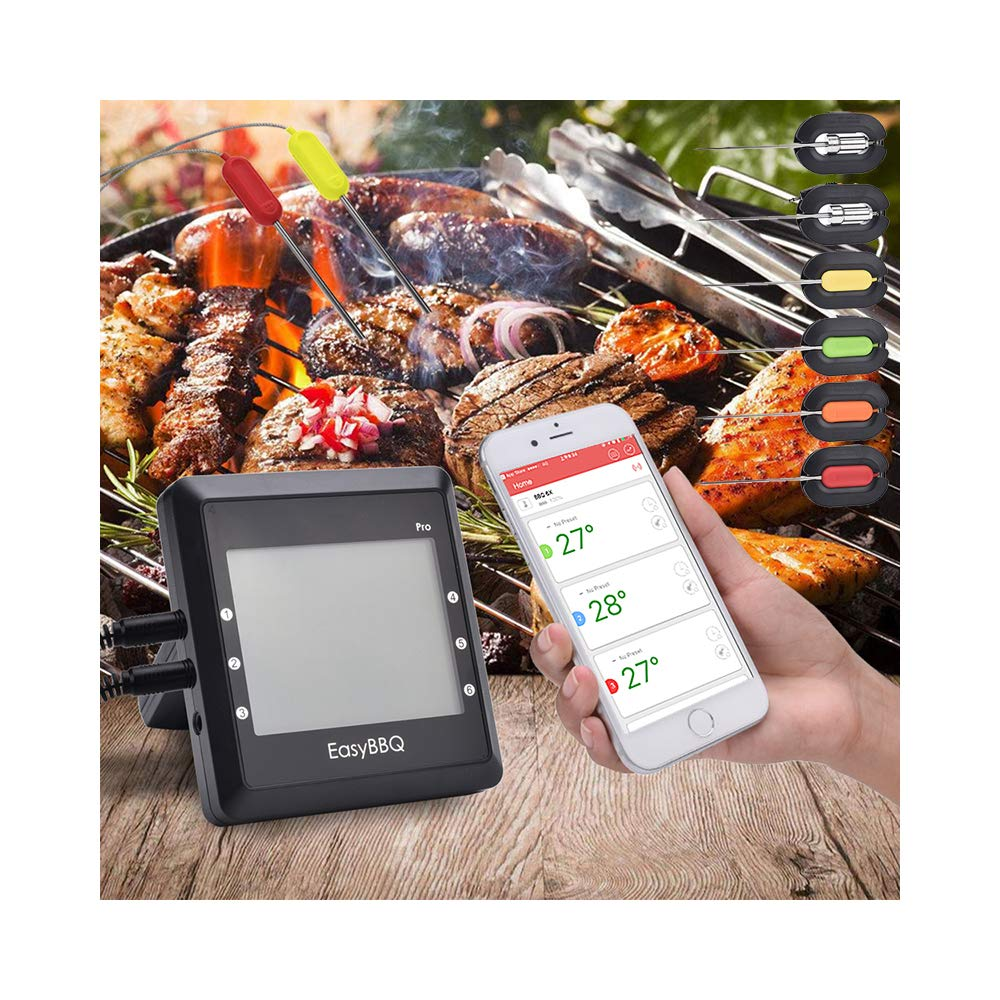 Bigzzia Meat BBQ Thermometer, Smart Cooking Thermometer with 6 Probesfor Smoker Grilling Oven Kitchen, APP Bluetooth Wireless Digital Remote Control, Support iOS & Android
