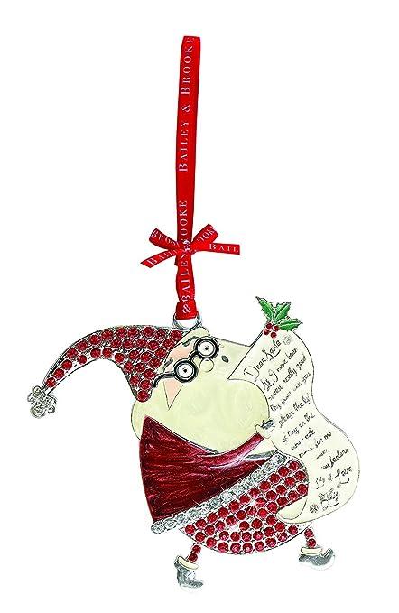 Bailey Brooke Sparkle Santa With List Christmas Ornament Party