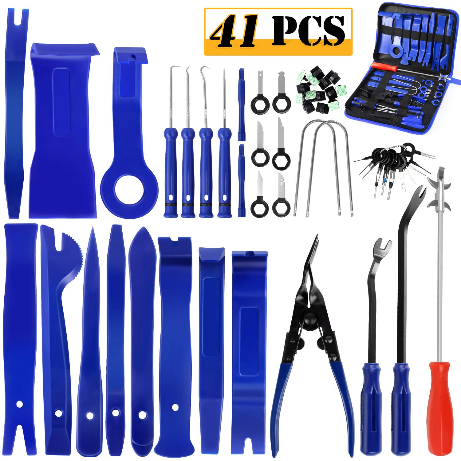 Precision Pick Car Pry Panel Repair Tool Cable Clips with Storage Bag OUTON 41PCS Trim Removal Tool Radio Removal Kit Upholstery Fastener Remover Auto Clip Pliers Tire Cleaning Hook