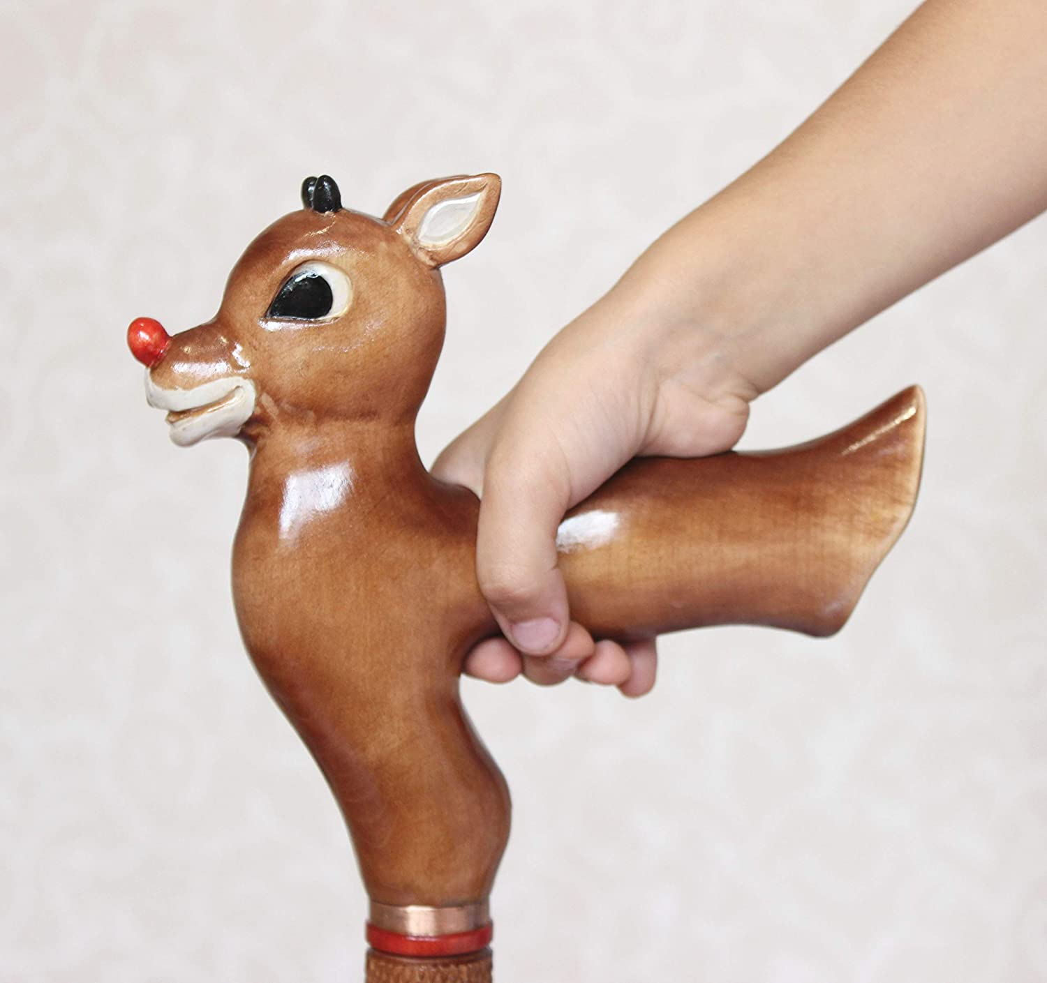 Wooden Reindeer Deer Rudolf Walking sticks canes Christmas Woodcarving Handmade