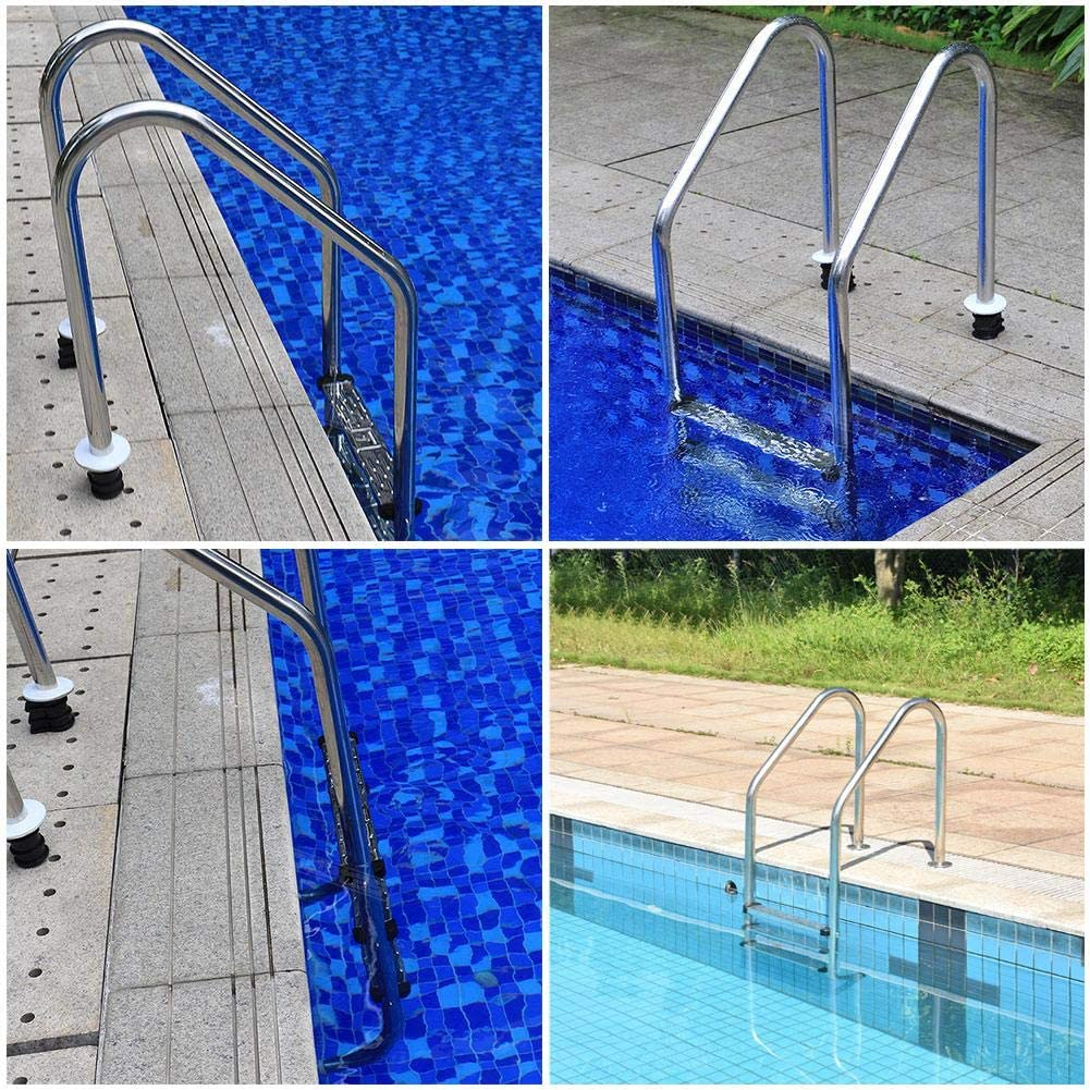 Swimming Pool Escalator Replacement Accessories Escalator Stainless Steel Screws Swimming Pool Ladder Replacement Kit Rubber Buffer Corrosion-resistant Embedded Parts Circular Protective Cover