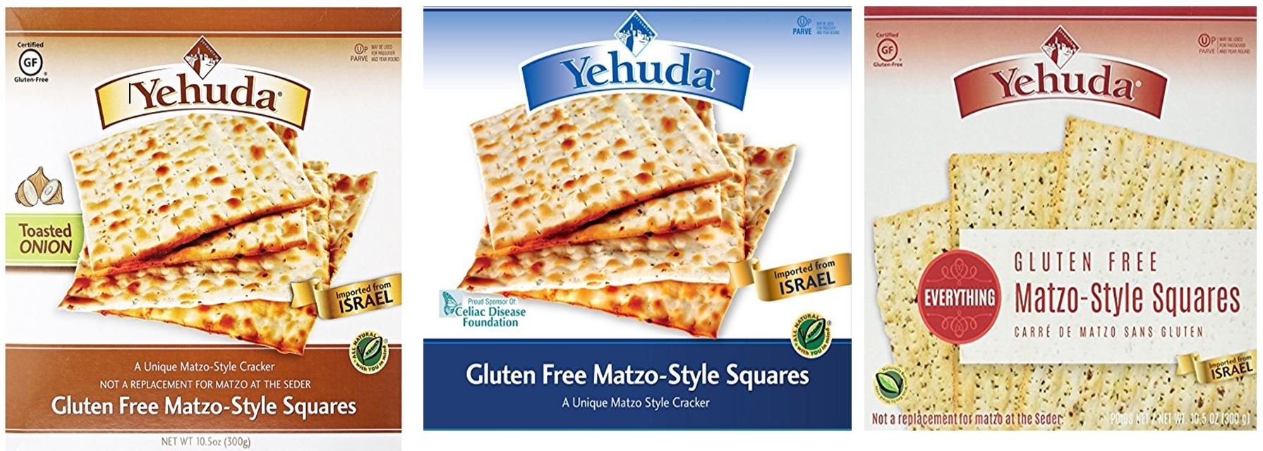 Yehuda Matzo Crackers Squares , Matzos Gluten Free, Variety Pack (Original, Toasted Onion, Everything) 10.5 oz. each