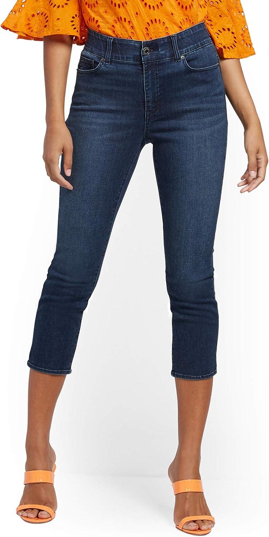 New York & Co. Mya Curvy High-Waisted Sculpting No Gap Capri Jeans - Steinway Blue