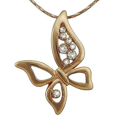 Silber Geschenk Frau Valentinstag Damen-Schmuck Schmetterling Hals-Kette Gold