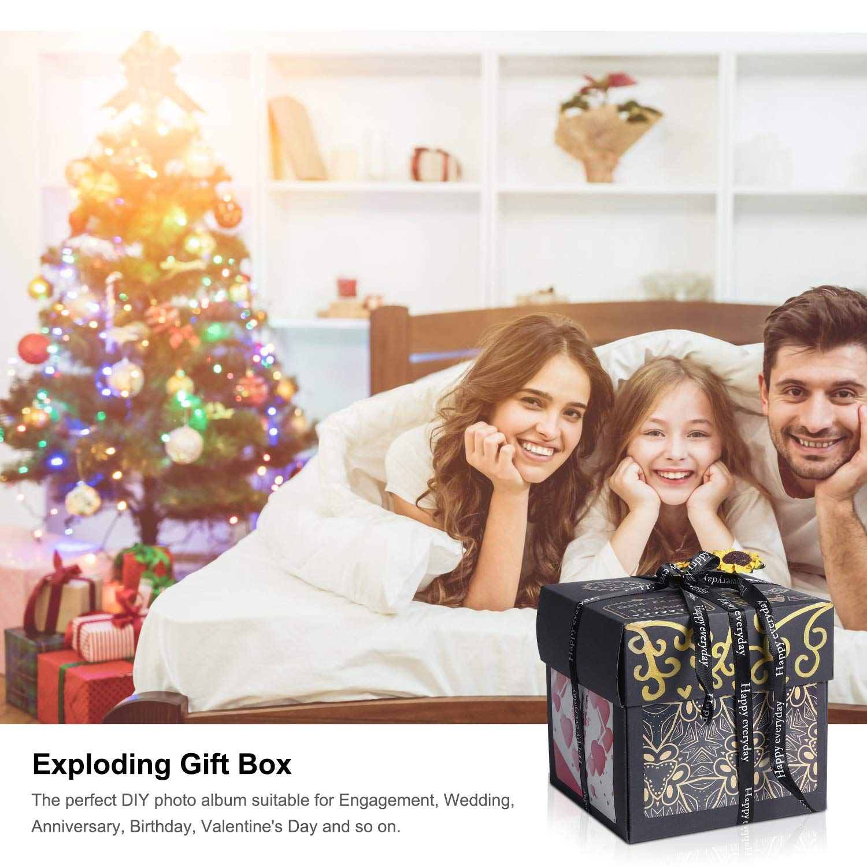 Black MOMSIV Explosion Box,Love Memory DIY Surprise Photo Box Handmade Exploding Picture Box as Birthday Anniversary Wedding Gift