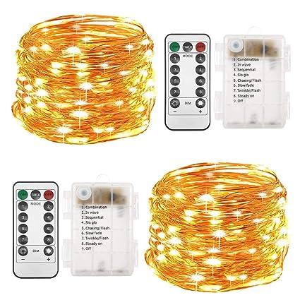 Amazon.com: Twinkle Star 100 luces LED de alambre de cobre ...