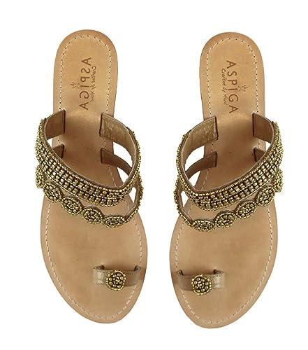 cdb55a229 Amazon.com  GlobalHandmade Handcrafted Women Bead Leather Sandals Flat Flip  Flops Clip Toe