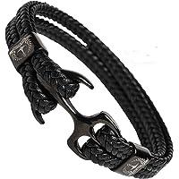 Tom Miller® Bracelet Ancre Homme Noir 21 cm de Long en Cuir de Haute qualité Cadeau pour Hommes