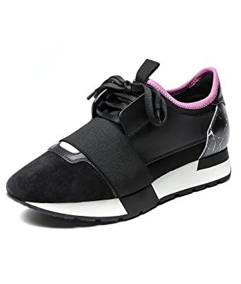 88bbd13ef5f0 Wiberlux Balenciaga Men s Elastic Strap Accent Lace-Up Running Sneakers 43  Black