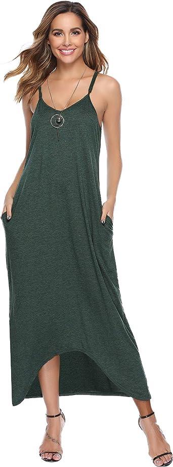 Vestidos Mujer Algodón Verano,Vestidos de Playa sin Mangas Falda Largo Sexy Elegante y Comodo Dress para Playa Casual Caminar Diario Compras: Amazon.es: Ropa y accesorios