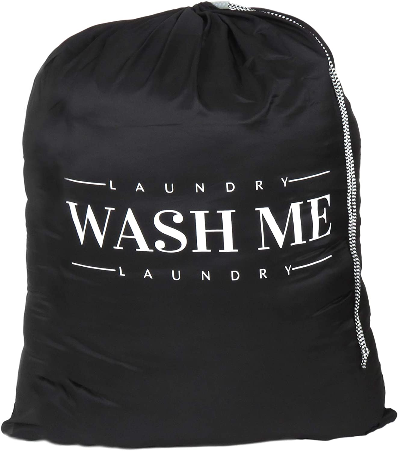 Oussum Travel Laundry Bag Dirty Laundry Bags Heavy Duty Polyester Laundry Bag Machine Washable Large Dirty Clothes Organizer with Backpack Drawstring (Black-Wash Me)