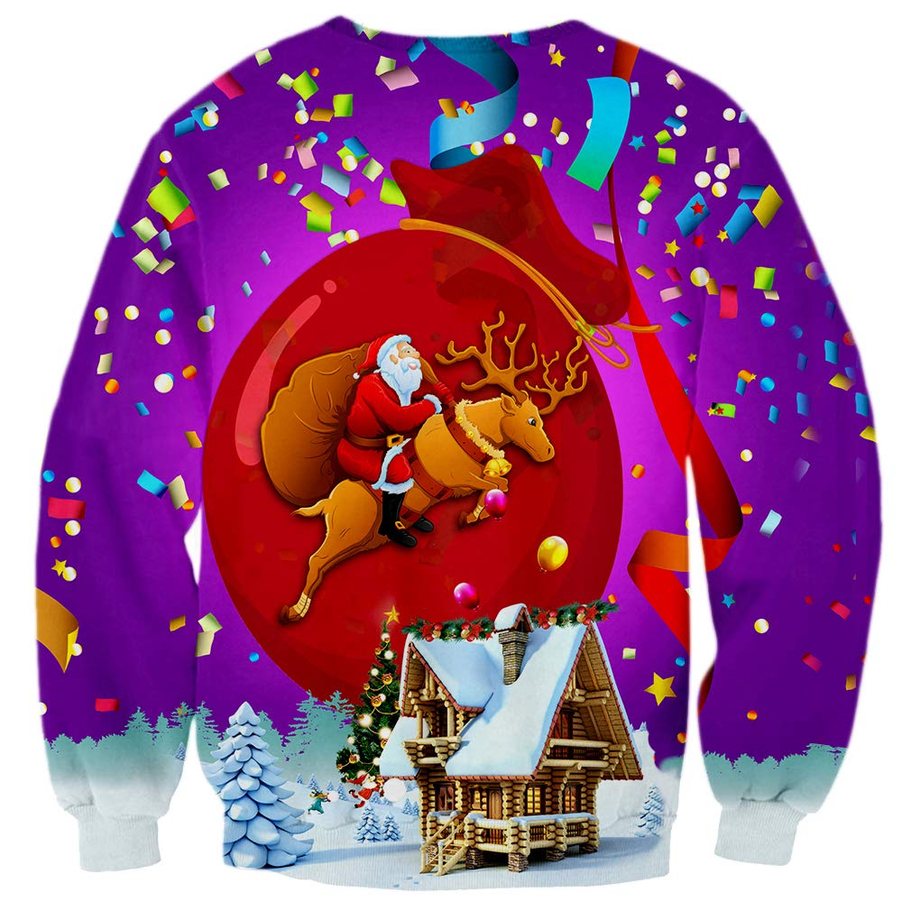 Yasswete Unisex Graphic Ugly Christmas Sweaters 3D Printed Crewneck Long Sleeve Pullover Sweatshirts for Men and Women