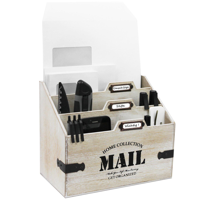 Holz Schreibtischorganizer Mail mit 3 Holztaschen Briefhalter Briefständer Briefablage Postablage Multistore 2002