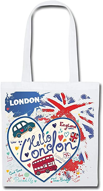 Bolsa de tela bolsa funda de algodón tela yute Bolsa larga Asa Bolsa con nombres London: Amazon.es: Hogar