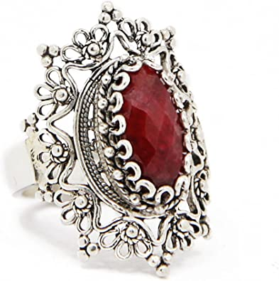 Princess Kylie Oxidized Sterling Silver Floral Filigree Ring