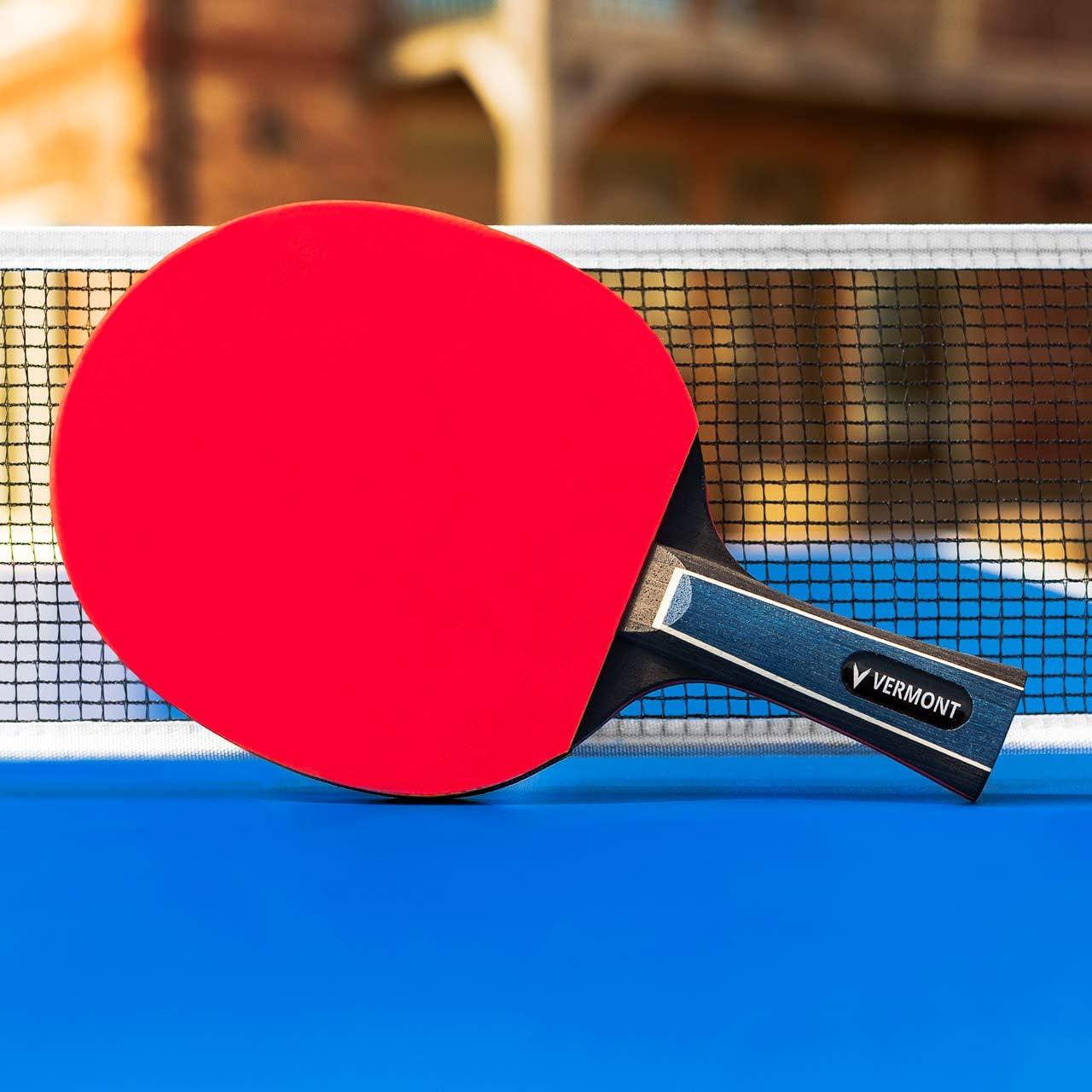 Vermont Raquetas de Tenis de Mesa Palas de Ping Pong Aprobadas por la ITTF | Raqueta de Ping Pong Profesional con 7 o 8 Capas | con Estuche de Transporte