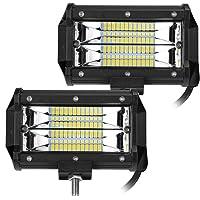 2 X 72W Focos de Coche LED Potentes, 12V-24V LED luces de trabajo IP67 Impermeable de Faros Adicionales Blanco Frío Para…
