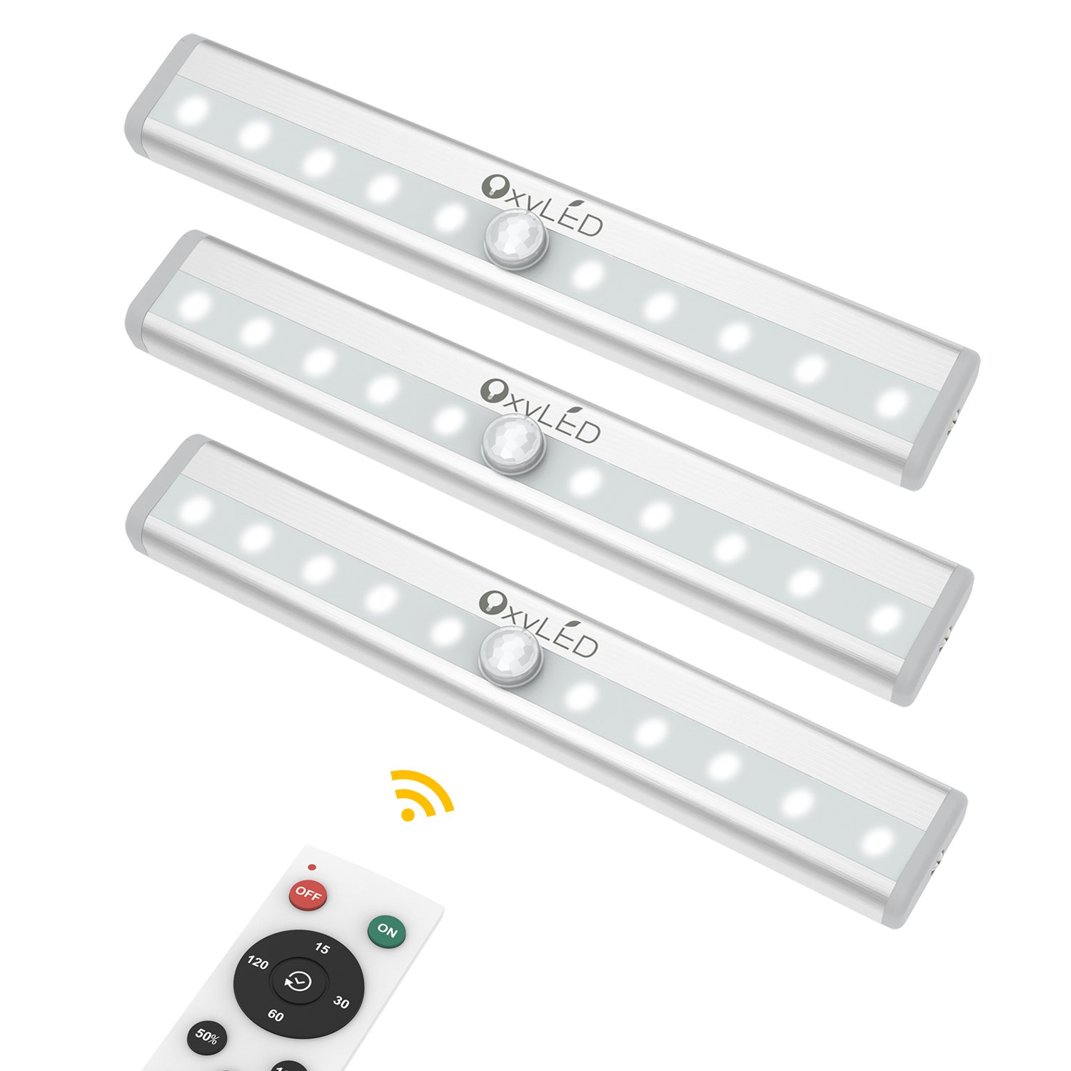 Closet Lights with Remote Control, OxyLED 3-Pack Battery Operated Night Lights Cordless Under Cabinet Lighting, Stick-on Wireless 10 LED Night Light Bar for Bookshelf, Wardrobe, Hallway, Stairway