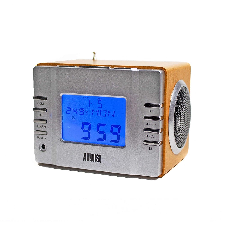 August MB300 – Radio FM MP3 y alarma despertador, reproductor MP3 con lector de tarjetas SD, USB y conexión auxiliar, color plata