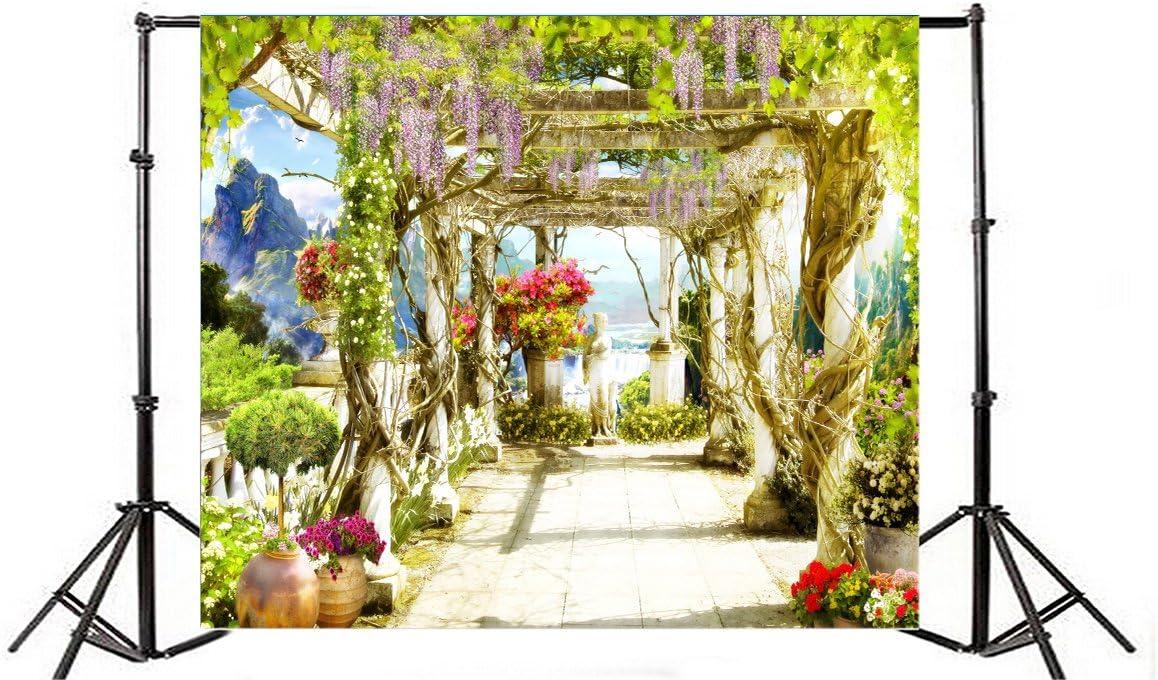 AOFOTO - Papel pintado para mujer, diseño vintage de terraza con flores de vino, para decoración de fiestas, bodas, estudio fotográfico: Amazon.es: Electrónica