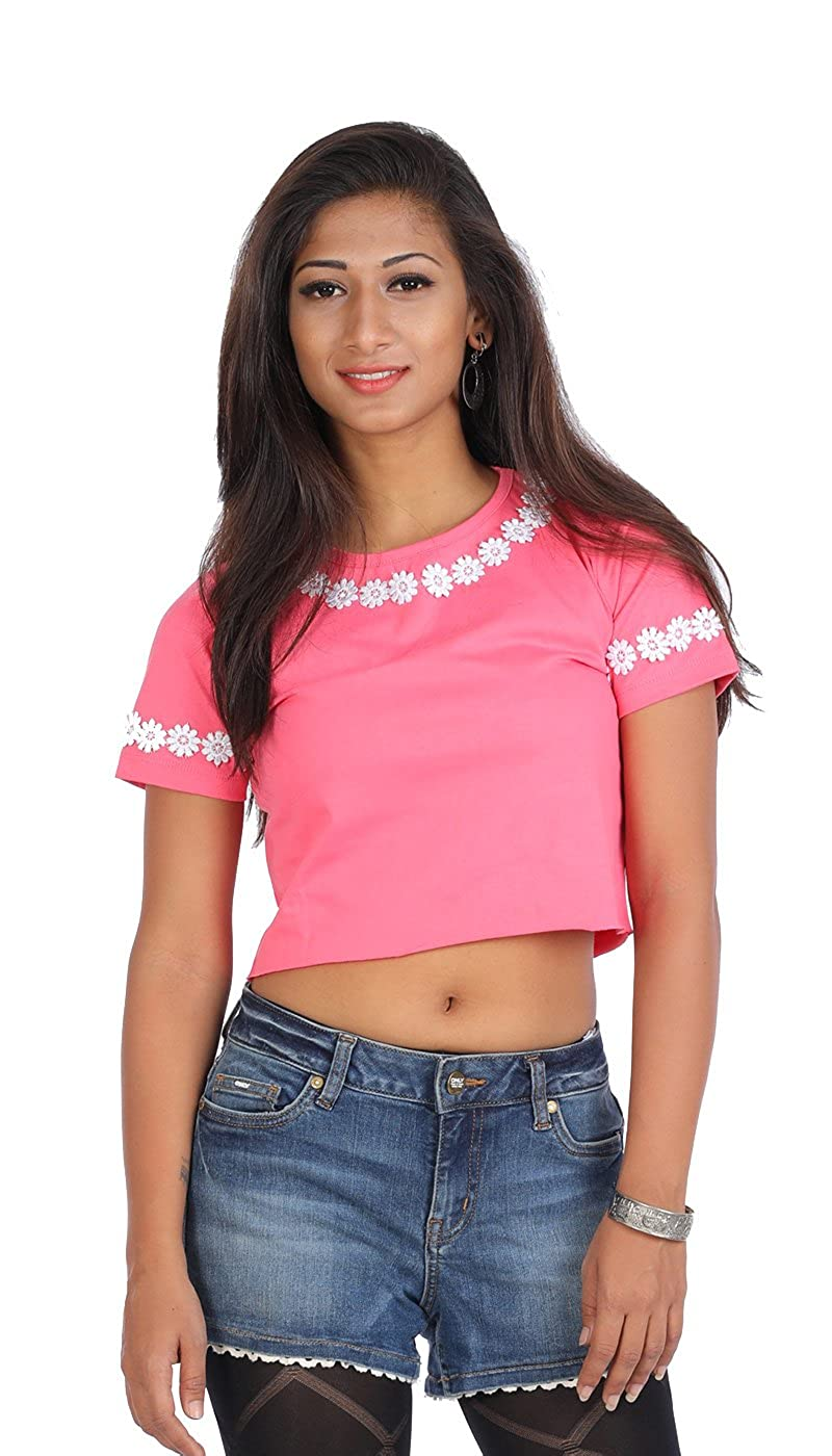 a465bc86da942f Estrolo Pink Color Women's Cotton Floral Crop Top: Amazon.in: Clothing &  Accessories