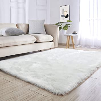 Noahas Luxury Fluffy Rugs Bedroom Furry Carpet Bedside Faux Fur Sheepskin Area Rugs Children Play Princess Room Decor Rug 4ft X 5 9ft White Furniture Decor