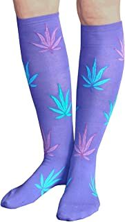 product image for Chrissy's Socks Women's Purple Weed Socks Purple/Neon Green