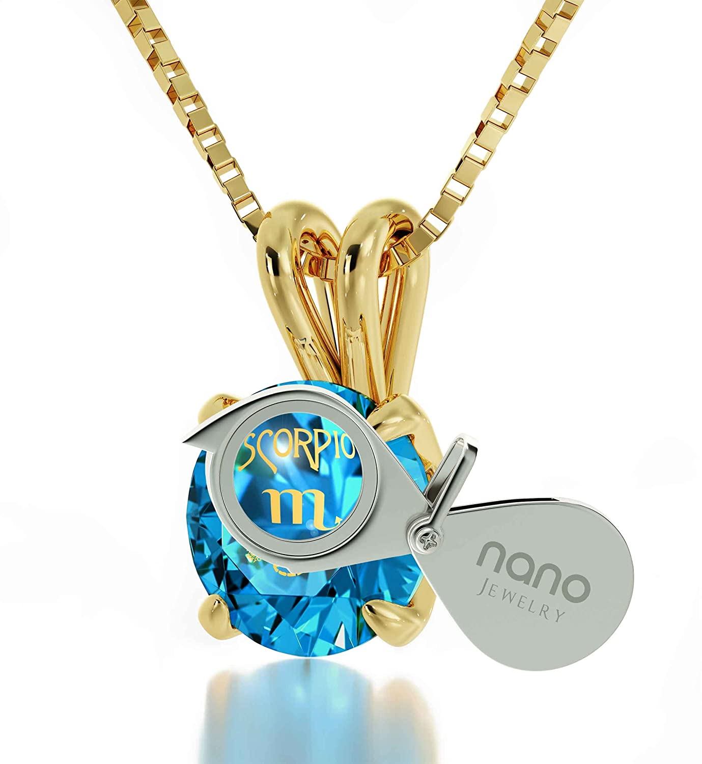 4e527aedc Amazon.com: 14k Yellow Gold Zodiac Pendant Scorpio Necklace 24k Gold  inscribed on Blue Crystal, 18