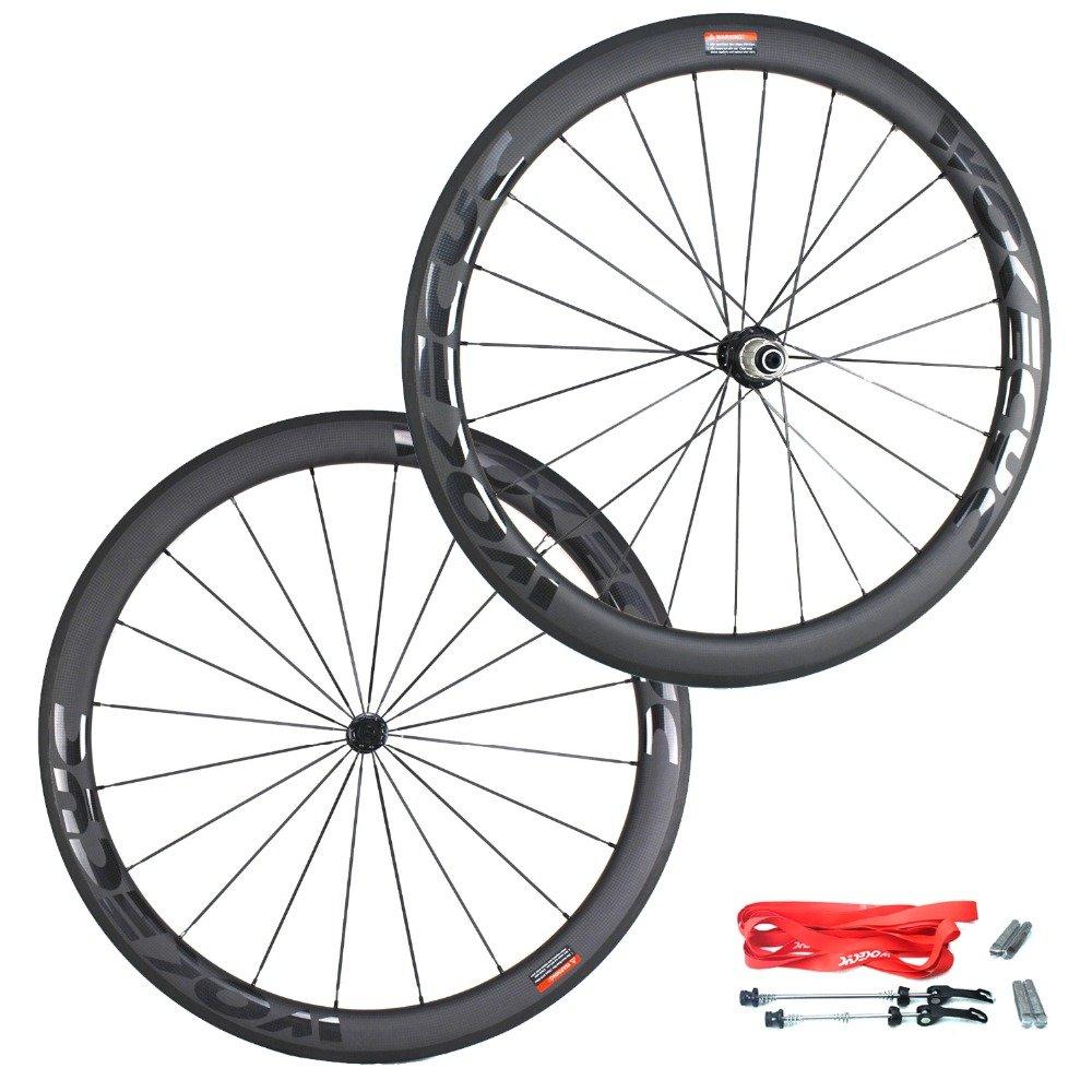 WOKECYC Road Bike Wheel set 50mm Clincher Carbon Fiber Matte 25mm Width For Shimano or Sram 10/11 Speed 700C Wheels